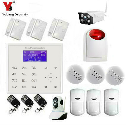YobangSecurity Android IOS APP Gsm Wifi Wireless Home Alarm System Smoke Fire PIR Motion Detector Outdoor Indoor IP Camera yongkang wireless 433mhz 1527 200k smoke detector for gsm alarm system