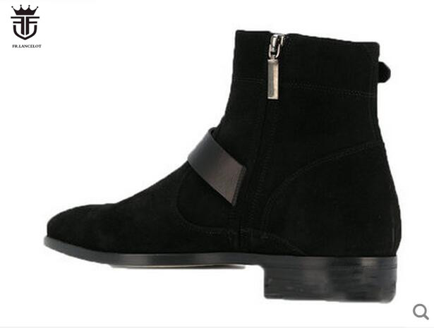 FR LANCELOT 2019 New arrival men booties buckle strap Chelsea Boots zip up Ankle Boots Men 39 s fashion Boots comfortable shoes in Basic Boots from Shoes