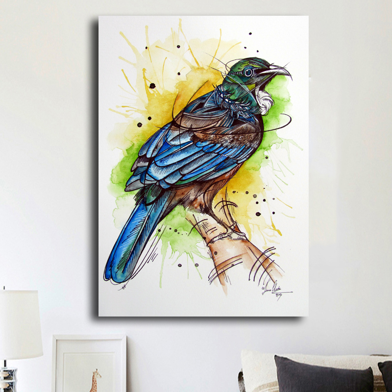 Unframed <font><b>Watercolor</b></font> Animal Oil <font><b>Painting</b></font> Wall Art Canvas prints Modern Abstract Bird <font><b>Painting</b></font> Home Decor For Living Room Artwork