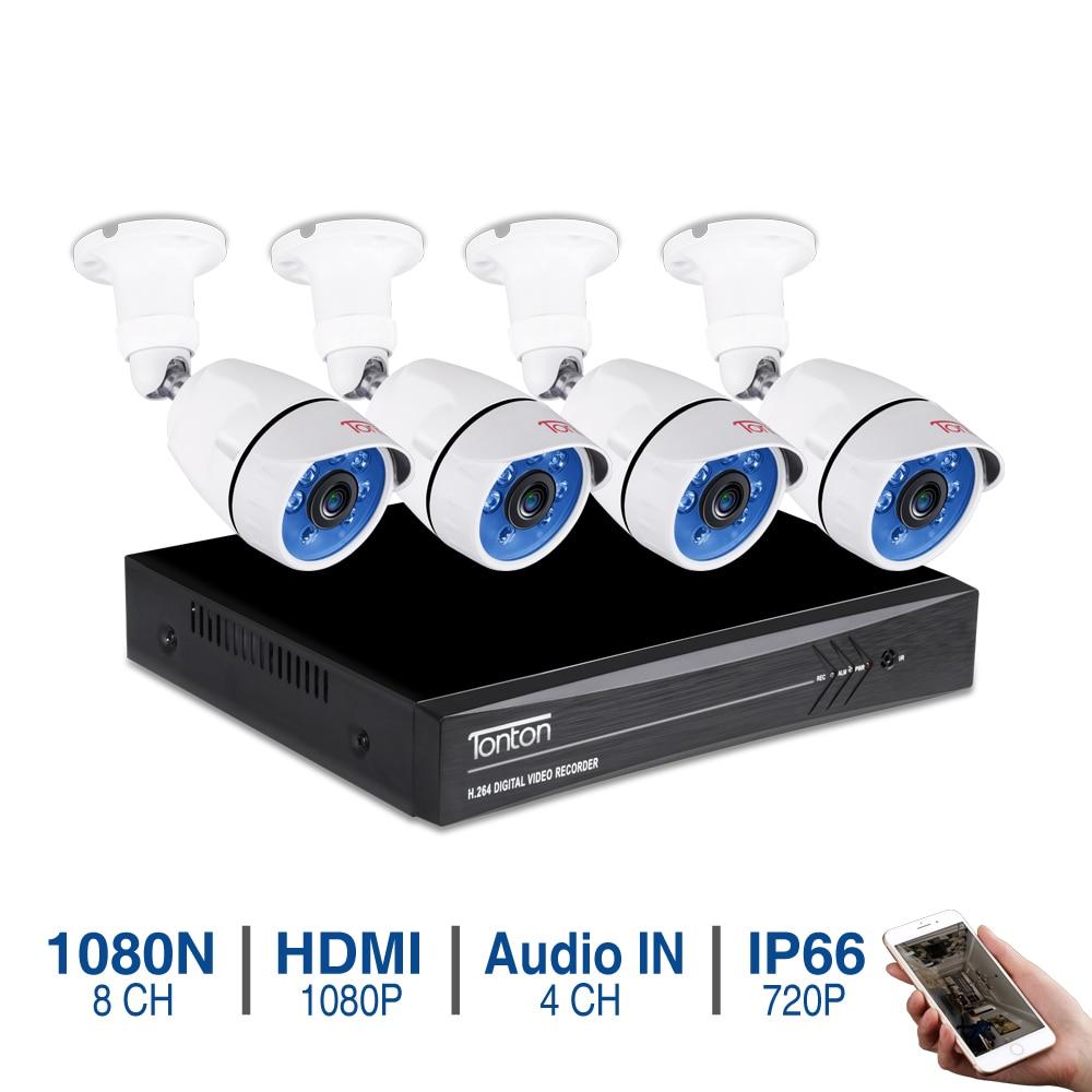 Tonton 8CH CCTV Системы DVR комплект наружного видеонаблюдение комплект 4 камеры 1080N комплект уличного видеонаблюдения TVI Камера комплект видео наб...