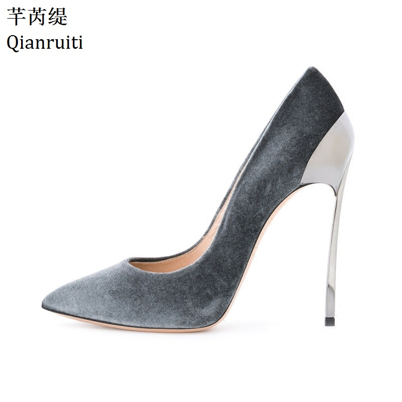 Qianruiti Pink Blue Velvet Metal Heels Women Shoes Pointed Toe High Heels Bridal Wedding Shoes Kim Kardashian Style Women Pumps romyed bridals wedding shoes kim kardashian pumps superstar shoes top quality flowers evening christian shoes size 4 16 shofoo