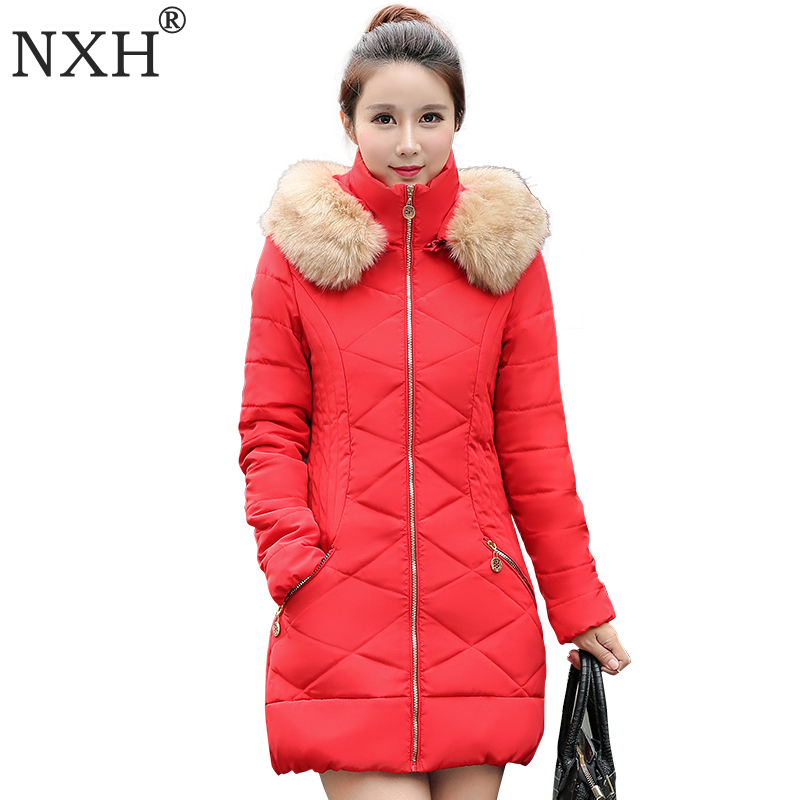 ФОТО NXH 2017 New Fashion winter jacket women down cotton jacket long sleeve Slim fack fur collar hooded winter coat  parka Plus Size