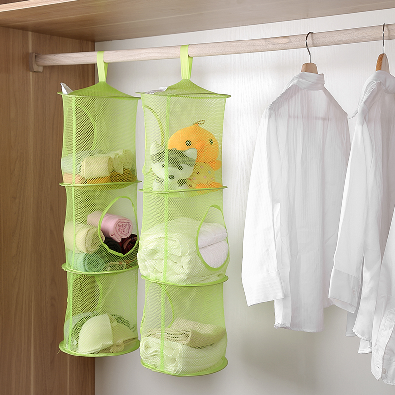Foldable Clothes Laundry Underwear Storage Baskets Mesh Portable Sundries Organizer Toy Three Layers Container Home Organization