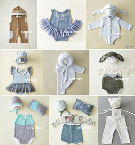 Image 1 - Dvotinst Newborn Photography Props Baby Lace Crochet Knit Outfits Set Clothes Fotografia Accessories Studio Shooting Photo Prop