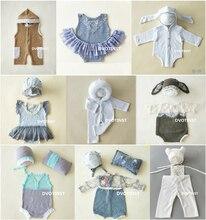 Dvotinst newborn fotografia adereços bebê rendas crochê malha conjunto de roupas acessórios fotografia estúdio tiro foto prop