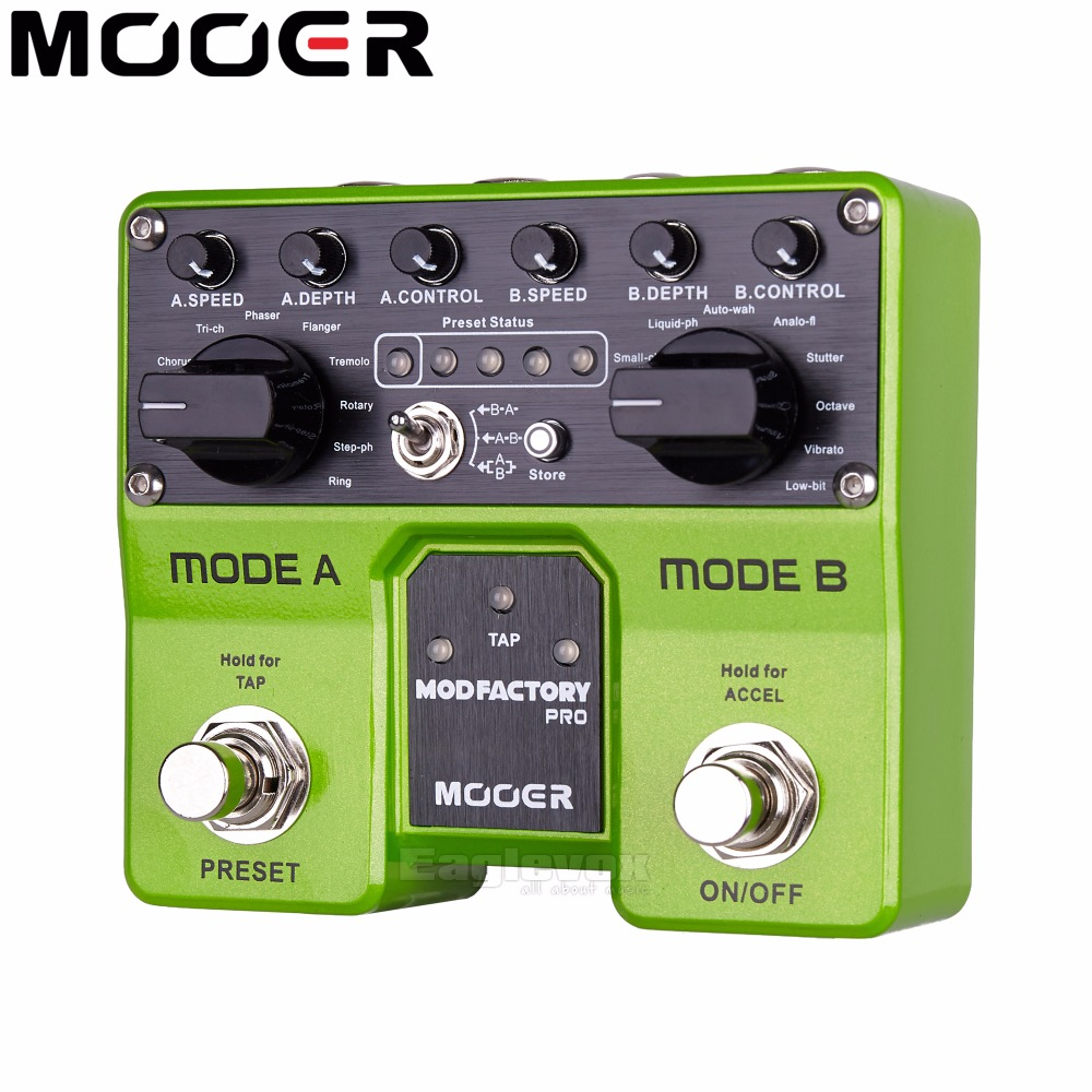 Mooer Mod Factory Pro Modulation Guitar Effect Pedal Digital Effects for Electric Guitar 4 Presets 16 Modulation Effects original vgod pro drip rda for vgod pro mech mod pro 150 box bottom airflow delrin drip tip huge vapor 24mm large build deck