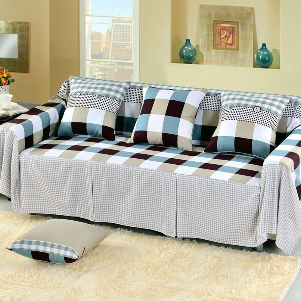 Enipate Cotton Blend Slipcover Sofa Cover Plaid Cushion