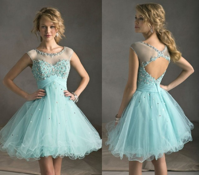 Aliexpress.com : Buy Turquoise Ball Bridesmaid Dresses Sheer ...
