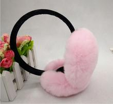 купить winter fur earmuffs for women sweet pink red Xmas white red real rex rabbit fur earwarmer autumn large fur ear muff M202 по цене 546.45 рублей