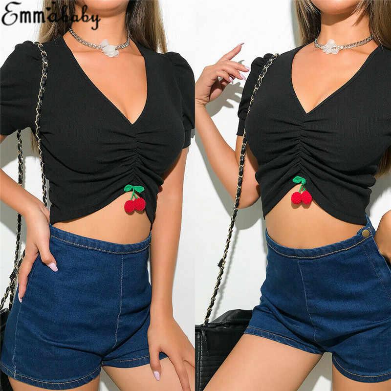 Sommer Frauen Weste Tanque Ocasional V-Ausschnitt Kirschbluse Kurzarm Colheita Encabeça Camisa
