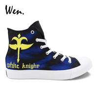 Wen Graffiti Vulcanize Shoes Men Thick bottom Lacing Flat Code Geass White Knight Hand Painted Canvas Sneakers Custom Design