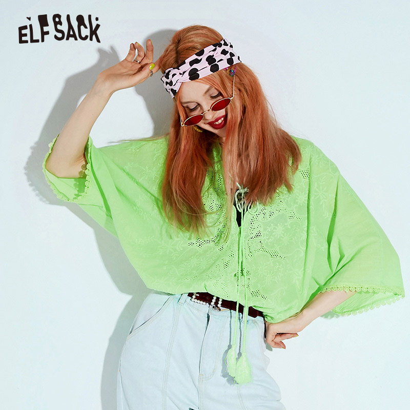 ELF SACK Cotton Casual Lace up Women Shirt Fashion Hollow Out Neon Green V Neck Oversized