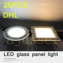LED Round Panel Downlight Panel Ceiling 20PCS Dimmable Super Bright Glass Recessed Panel Lights LED Spot Light Bulb AC110V 220V