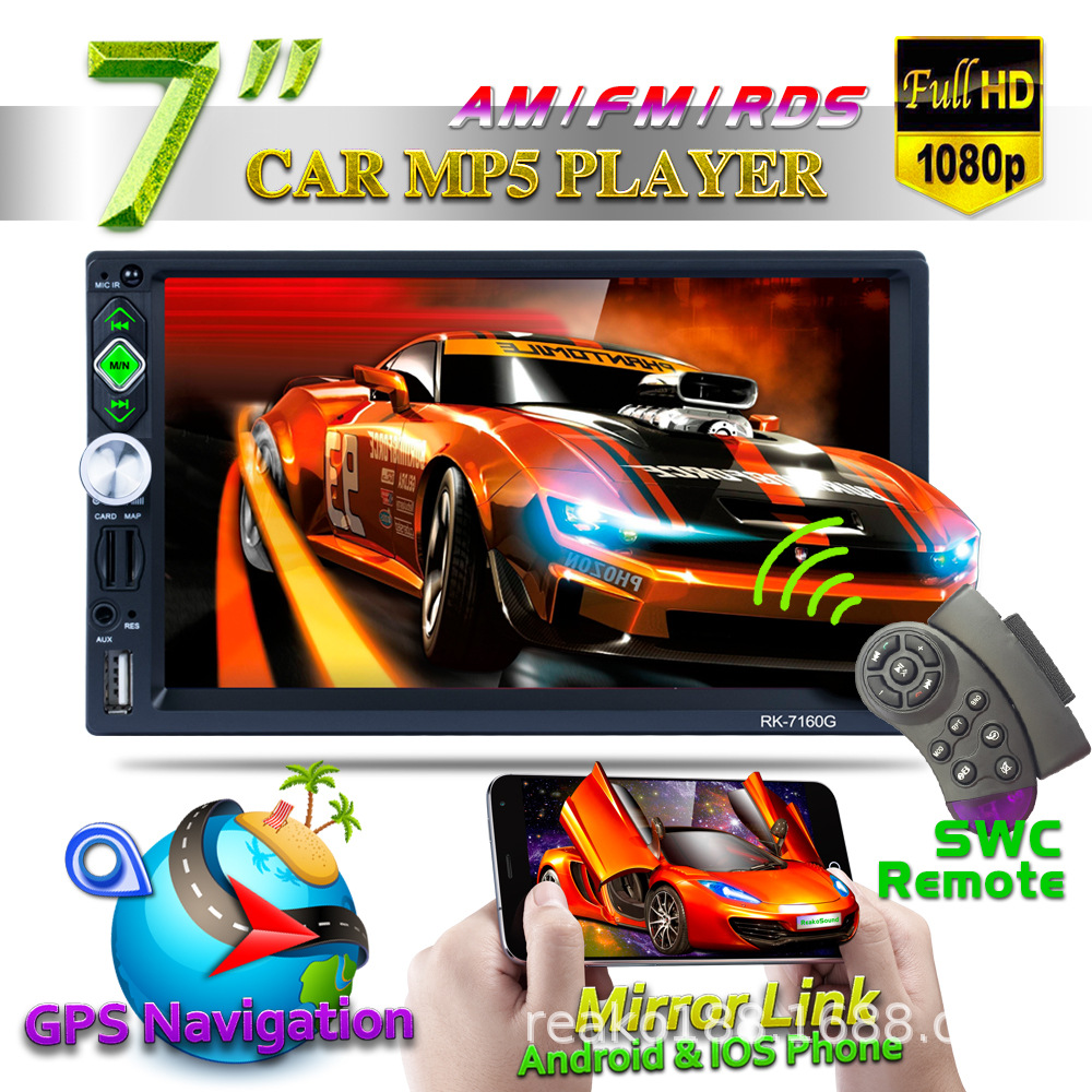 7 1080P Touch Car MP5 Player Bluetooth USB TF AM FM RDS Car Audio Stereo Multimedia Video Rearview Camera GPS Navagation7 1080P Touch Car MP5 Player Bluetooth USB TF AM FM RDS Car Audio Stereo Multimedia Video Rearview Camera GPS Navagation