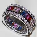 Размер 5-11 Антикварные ювелирные изделия Потрясающие Серебро 925 Принцесса Виктория Сапфир AAA CZ Алмаз Обручальное Обручальное Женщины Звенит подарок