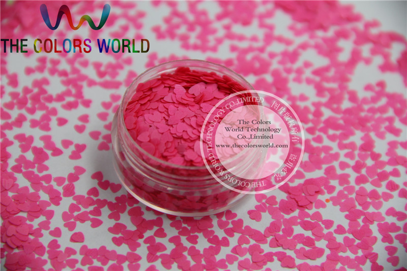 Solvent resistant - Neon  Pink Color heart-shaped Glitter Spangles for Nail Polish and Other DIY decoration 1Pack =50g tcf510 solvent resistant neon rose carmine color mickey mouse shape spangles for nail polish and other diy decoration1pack 50g
