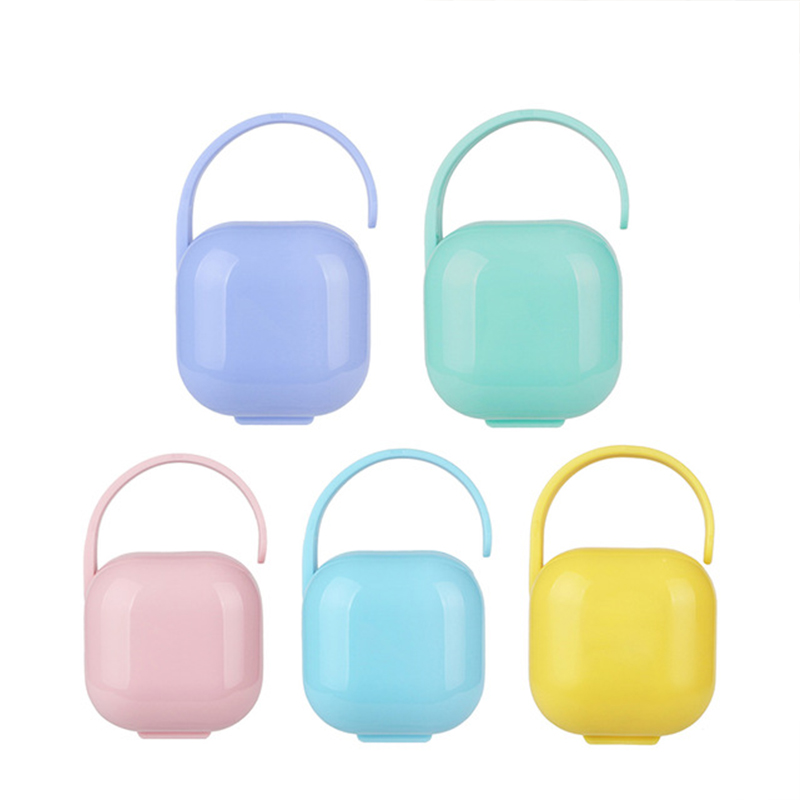 6 Colors Portable Baby Pacifier Nipple Cradle Case Infant Travel Storage Box Baby Soother Nipple Container Dust Handle Pacifier