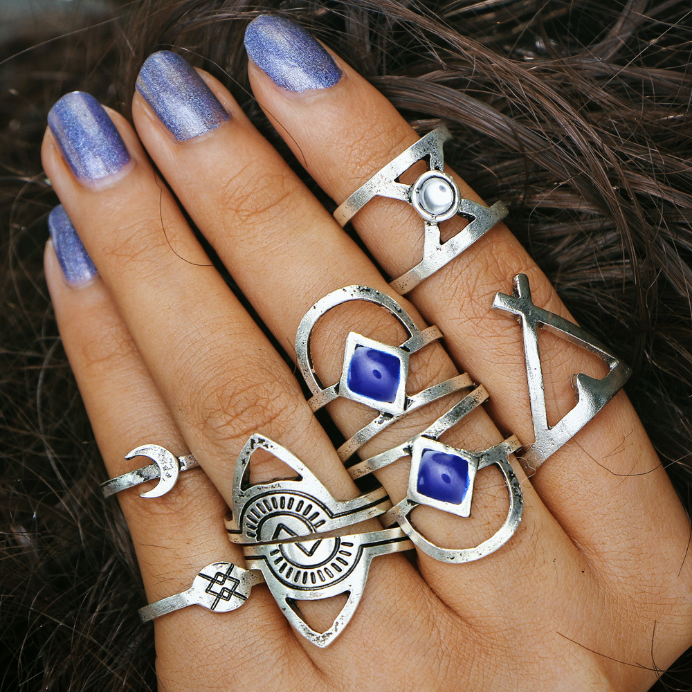 8Pcs/Set Midi Rings Sets For Women Antique Silver Color Hollow Triangle Cross Moon Stone Knuckle Finger Ring Bohemian Jewelry