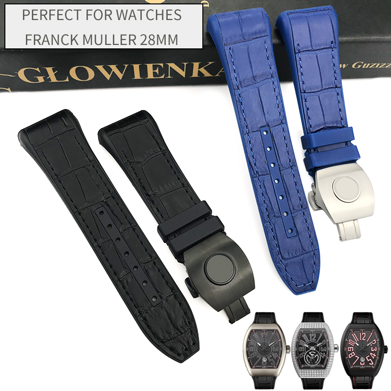 28mm Genuine Cowhide Nylon Black Blue Watchband Silicone Folding Buckle Replacement Bracelet Suitable for Franck Muller Watch28mm Genuine Cowhide Nylon Black Blue Watchband Silicone Folding Buckle Replacement Bracelet Suitable for Franck Muller Watch