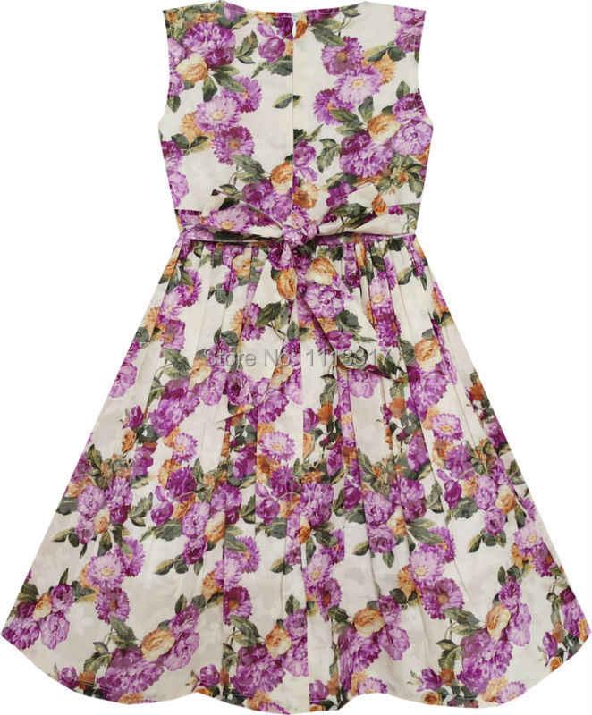 Sunny Fashion Kız Çocuk Elbise Çiçeklenme Çiçek Dalia Yeşil Yapraklar Mor
