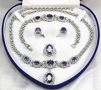 Женские украшения фиолетовый камень 18kgp Серьги Браслет Цепочки и ожерелья кольцо> * 18 К с позолотой кварцевые часы оптом камень CZ Кристалл