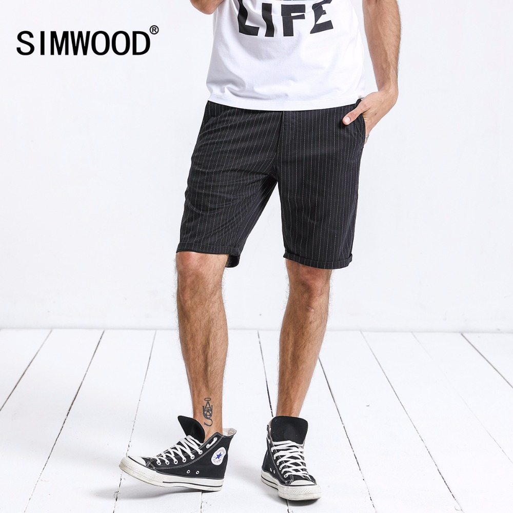 f2b29f325044 SIMWOOD 2019 Summer Shorts Men Fashion Casual Striped Straight Knee-Length  Shorts High Quality Cotton
