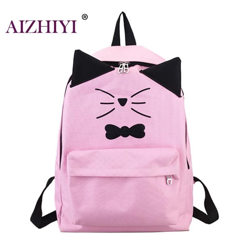 Cat Bag Students School Backpack for Teenagers Girls Back Pack School Backpacks PU Leather Shoulder Travel