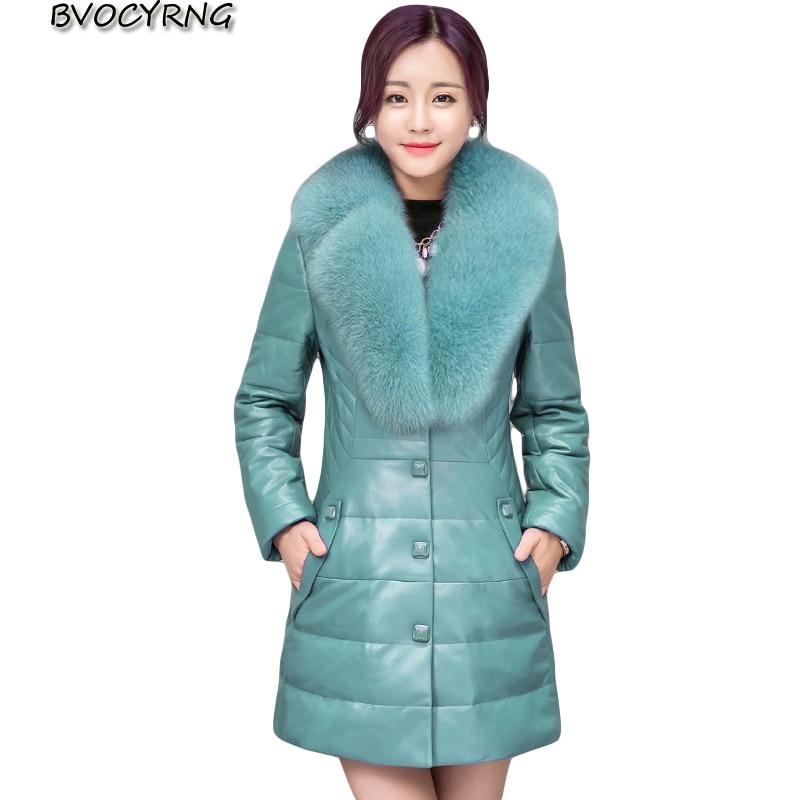 2017High copy Fox collars Long   Leather   Coat Women Plus Size Autumn winter warm Cotton Outerwear High-end Slim pu   Leather   Coat AA