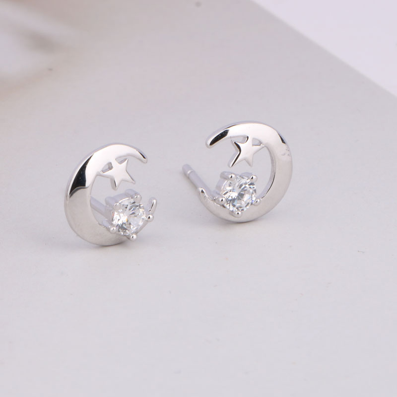 Real Sterling Silver 925 Earrings Christmas Moon And Star Stud Earrings Moon Star Earing Pendientes Plata De Ley 925 Mujer (7)