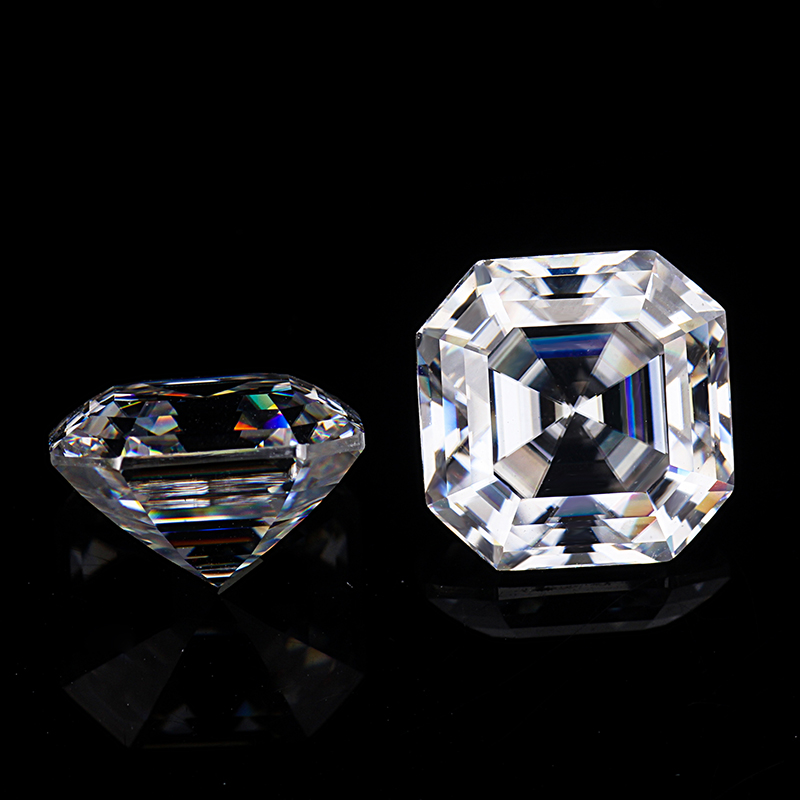 Starsgem Moissanit clear white color EF 6.5*6.5mm Asscher cut moissanites loose gems stones genuine