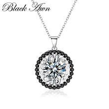 Черное AWN серебряное ожерелье, Настоящее серебро 925 пробы, ожерелье для женщин, ювелирное изделие, классическое круглое ожерелье, s& Кулоны P113