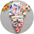 newborn baby clothing 2016 new spring toddler baby sets 2pcs cartoon printed long sleeve cardigan jacket+pants baby sport suits