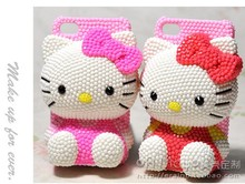 3D Bling Bling Lovely Crystal Pearl Hello Kitty Cabochon DIY Cell phone Cell Case for iphone 7 plus case for samusng case(China)