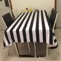 Custom simple modern black and white striped canvas cloth table cloth many sizes table cloth free shipping