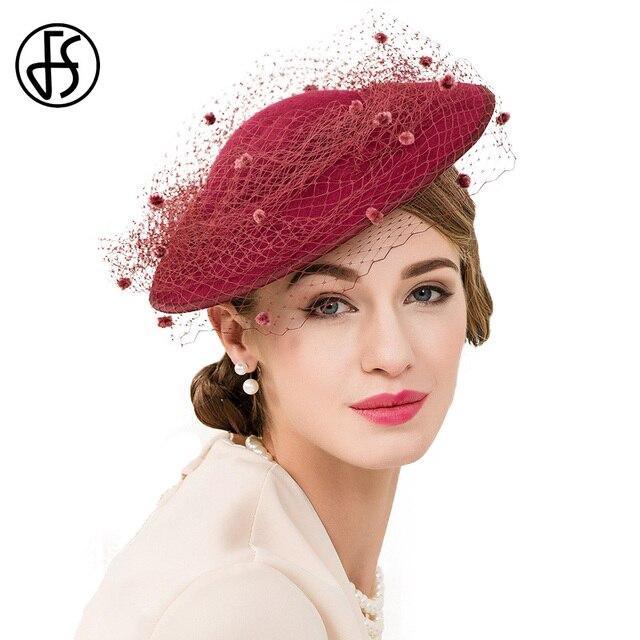 FS rojo vino las mujeres de Fascinators sombrero Pastillero con velos boda elegante  sombreros señoras Vintage dcb7175ed0a