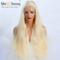 WoWEbony Glueless Full Lace Wigs Peruvian Virgin Hair Natural Straight Honey Blonde #613 Full Lace Wigs Transparent Lace Color