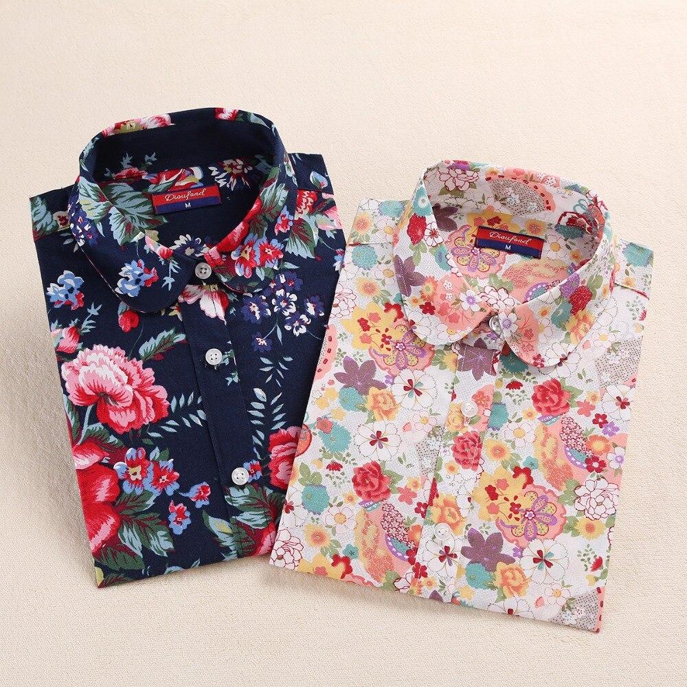 New font b Floral b font Ladies font b Blouses b font Cotton Long Sleeve Shirt