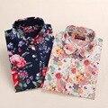 Novas Senhoras Florais Blusas de Algodão Camisa de Manga Longa Mulheres Lazer Turn-down Collar Mulheres Top Elegante Plus Size Tops moda 2016