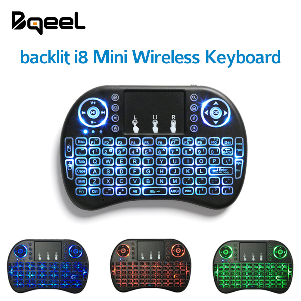 Hot Sale I8 Mini Wireless Keyboard 2.4GHz Backlit Air Mouse With Touchpad Handheld For Android TV BOX English Russian Spainish