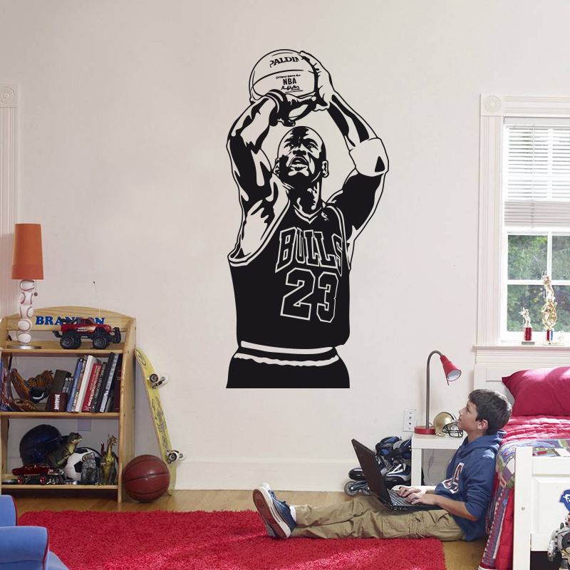 2016 New Design Michael Jordan Wall Sticker Vinyl DIY Home Decor Basketball  Player Decals Sport Star For Kids Room Free Shipping In Wall Stickers From  Home ... Part 83