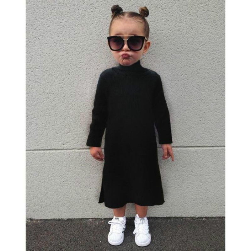 22205863408 baby girls dress kids sweater dress knitted winter turtleneck sweater baby  girl clothes black roupas pull enfant ropa ninos-in Sweaters from Mother    Kids ...