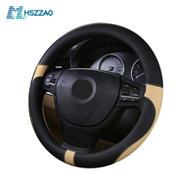 цена на Car Steering Wheel Cover Leather Size 38cm For VW Skoda Chevrolet Ford Nissan etc. 95% Cars Free Shipping