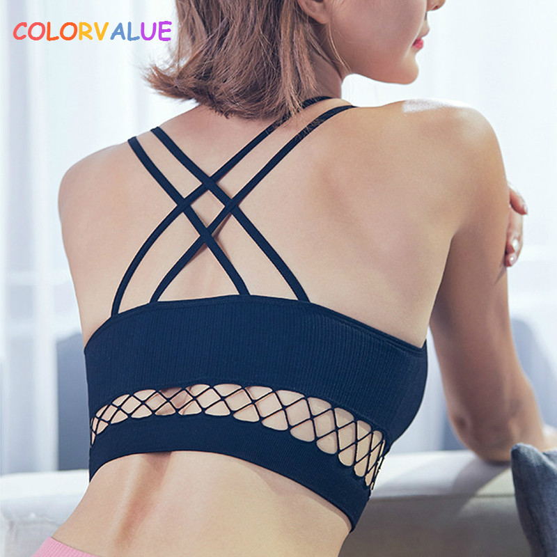 все цены на Colorvalue Sexy Hollow Out Gym Yoga Bra Women Removable Pads Workout Fitness Bra Push Up Wireless Dance Sport Bra Top Brassiere