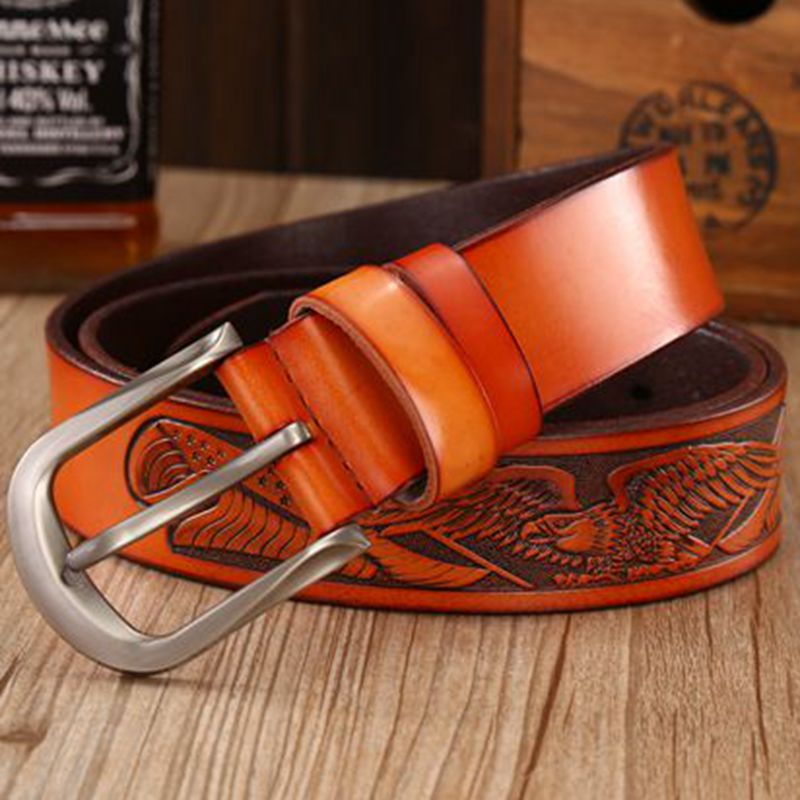 Genuine Handcrafted Eagle Designed Belt For Men Pin Buckle Casual Quality Straps