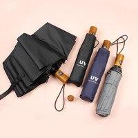 Automatic Sun Umbrella Business Men Wooden Handle 10K Aluminum Folding Umbrellas Sunscreen Anti UV Parasol Windproof