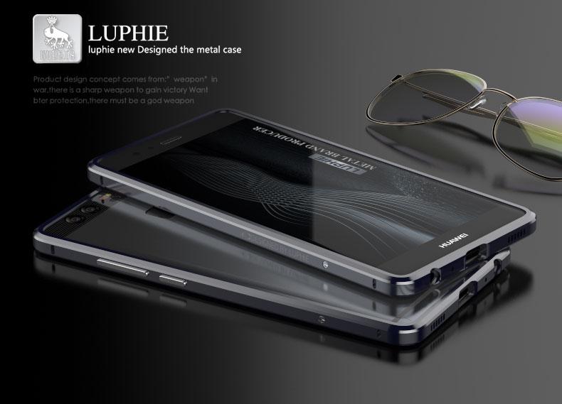 imágenes para Huawei P9 Teléfono de Nuevo La Cubierta de Parachoques Del Caso Con Cuero Etiqueta lujo Exquisito Corte de Metal Caja Del Teléfono de Parachoques Para Huawei Ascend P9