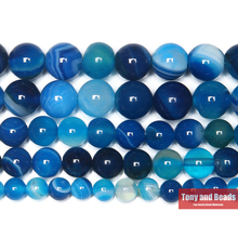 Free Shipping Natural Stone Banded Blue Lace Agates Round Loose Beads 4 6 8 10 12MM Pick Size For Jewelry Making