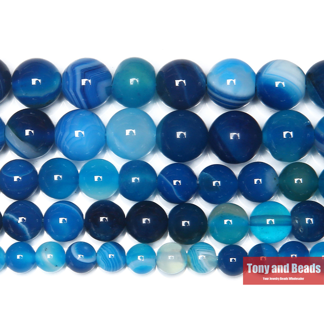 Free Shipping Natural Stone Banded Blue Lace Agates Round Loose Beads 4 6 8 10 1