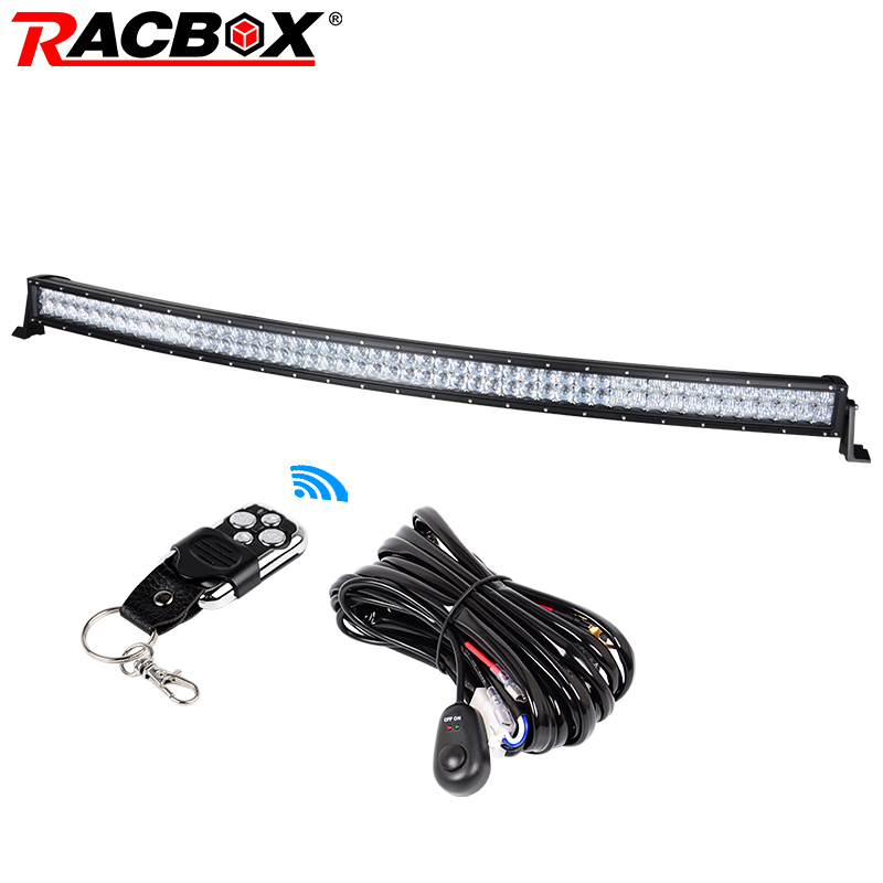 RACBOX 50 inch 5D Curved LED Work Light Bar 480W 12V For Car SUV Truck Boat 50 Inch Off Road LED Working Driving Bar Light Lamp free dhl ups fedex ship 13 5 72w 2700lm 10 30v 6500k led working bar curved option wire of harness led bar light