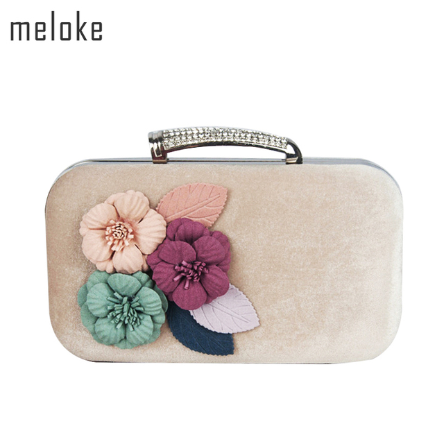 Meloke 2018 high quality handmade flowers evening clutch bags corduroy  clutch wallets with chain fashion diamond bags MN639 d18737914424